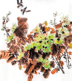 伝統的なパターンの花の枝の魚の花