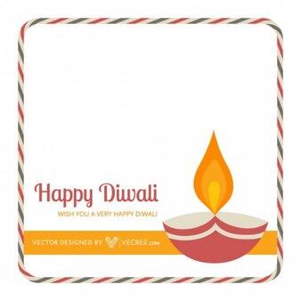 Traditional diwali diya greeting card