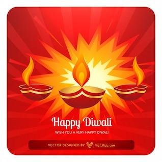 Traditional diwali flames greeting card