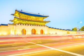 Traditional landmark architecture night city