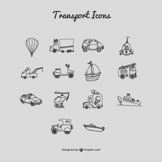 Transport icons cartoon set