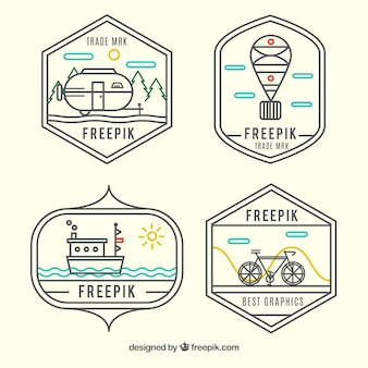 Transport logos in hipster style