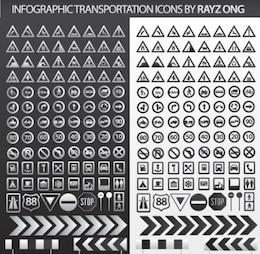 transportation stylish info pack illustrator vector