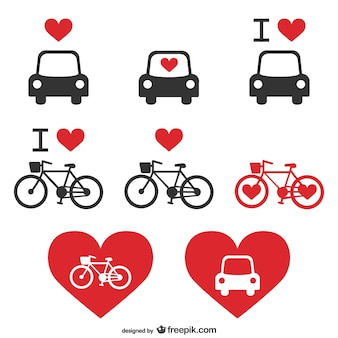 Transportation vector heart icons