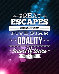 Travel advertisment with purple shine vector