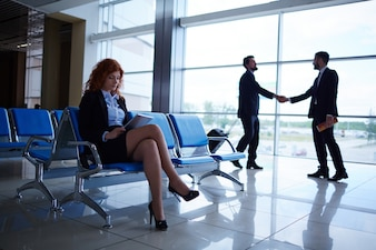 Travel airport boarding contemporary businesswoman