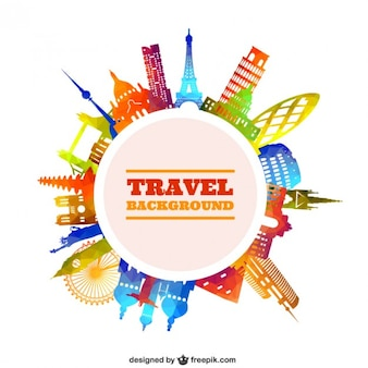 travel background in colorful style