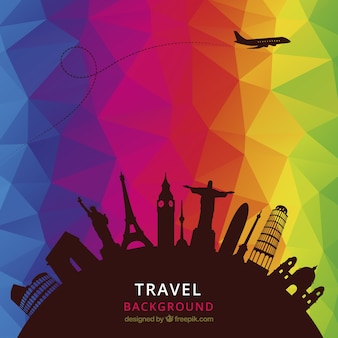 Travel background with colorful polygons