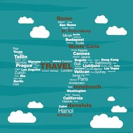 Travel concept typographyc plane vector