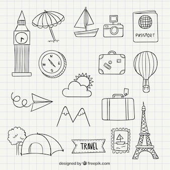 Travel icon doodles