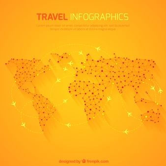 Travel infographic with world map