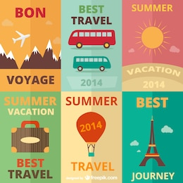 Travel mix vintage vector art