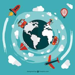 Travel transportation vehicles vector