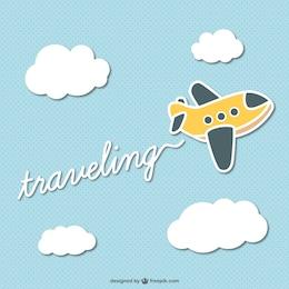 Traveling cartoon plane vector