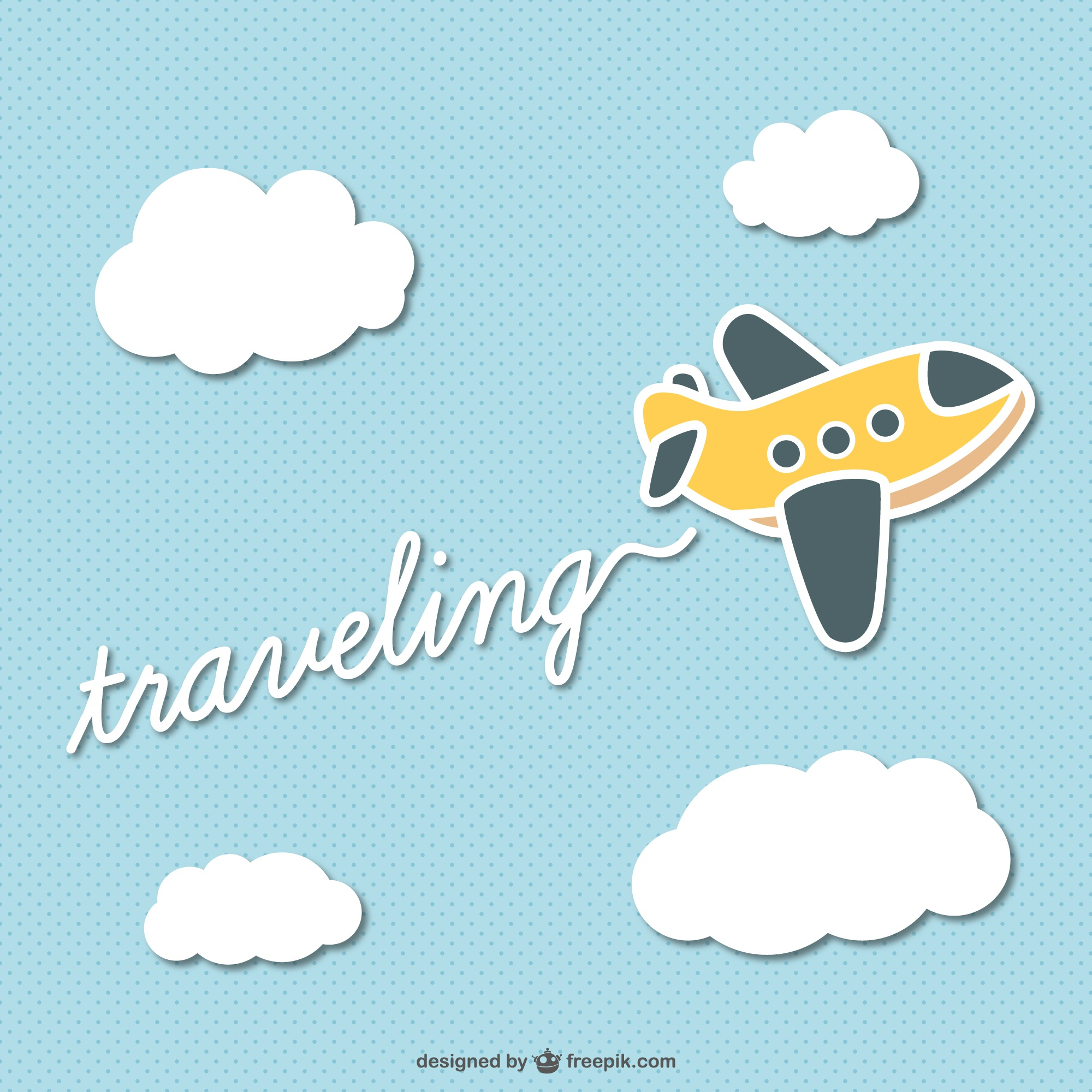 Traveling cartoon plane vector
