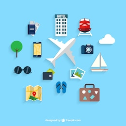 Traveling on airplane icons
