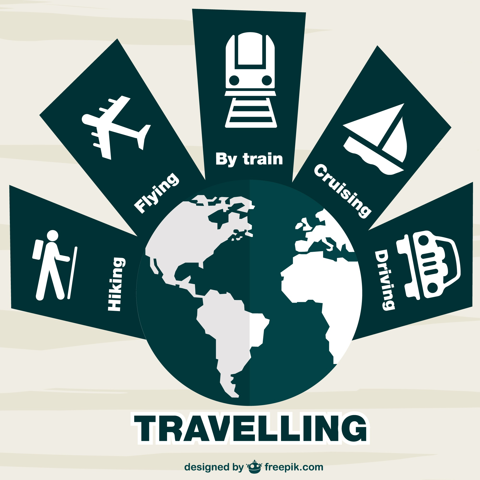 Traveling transport options vector