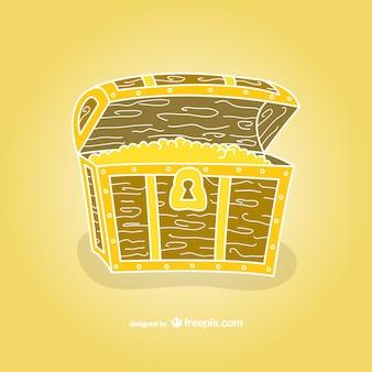 Treasure chest hand drawn vector