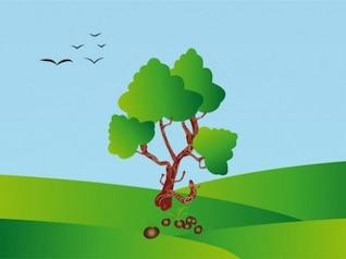 Tree illustration on green landscape