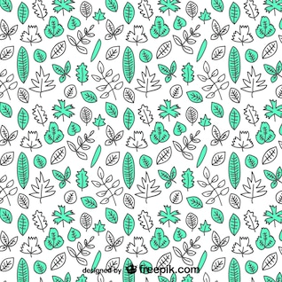 Tree leaves hand drawn pattern