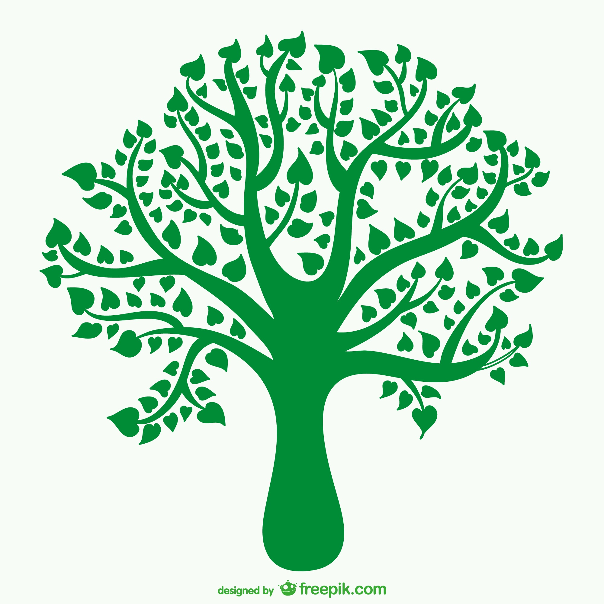 Tree silhouette with heart shaped leaves