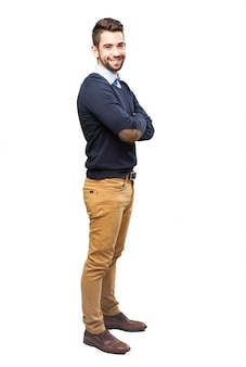 Trendy guy with crossed arms