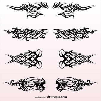 Tribal tattoos design vector set