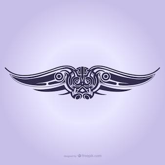 Tribal wings ornament tattoo
