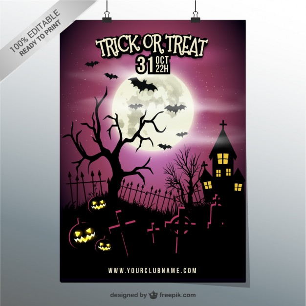 Trick or treat party poster template