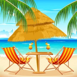 Tropical beach getaway summer background