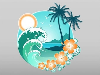 Tropical Beach graphical vector element