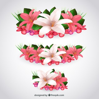 Tropical flowers in realistic style
