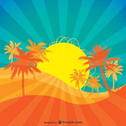 Tropical Rising Sun Vector.