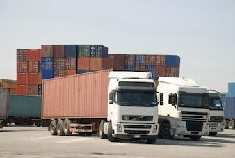 Trucks unloading merchandise