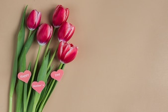 Tulips with decorative hearts