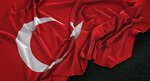 Turkey Flag Wrinkled On Dark Background 3D Render