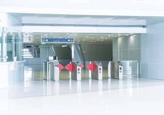 Turnstile at the entrance to subway