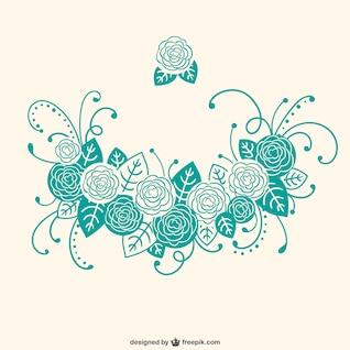 Turquoise calligraphic floral ornaments