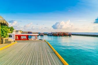 Turquoise calm coastline lagoon marina