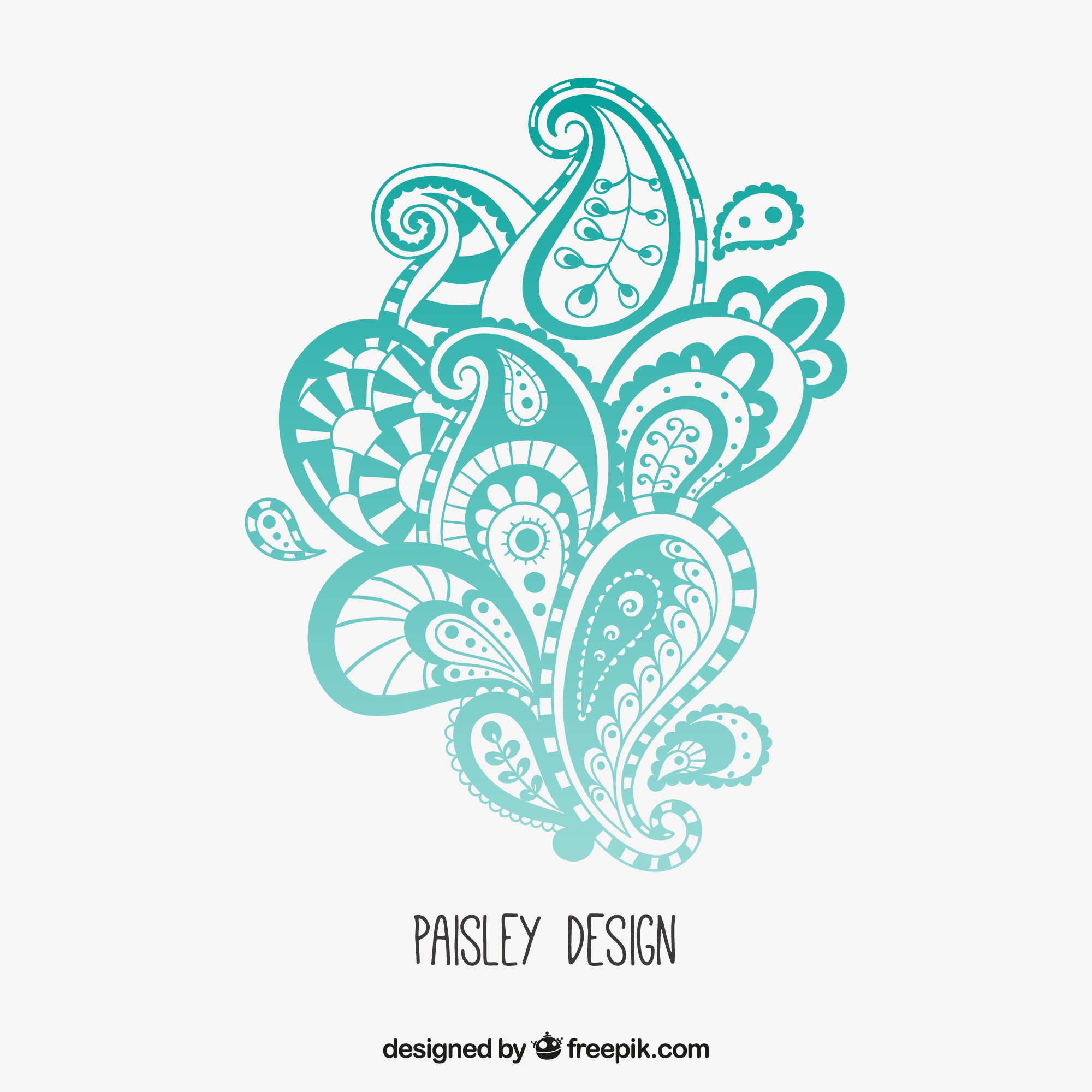 Turquoise paisley design