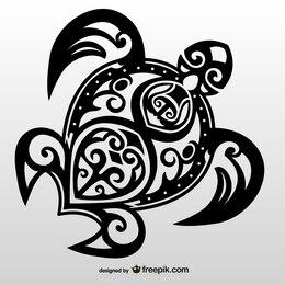 Turtle tribal tattoo vector