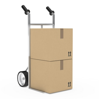 Two cardboard boxes on a cart