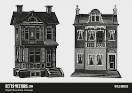 Two Doll Houses | Free Retro Vectors