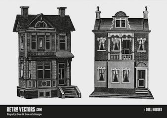 Two Doll Houses   Free Retro Vectors