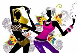 two girls dancing on floral background vector illustration