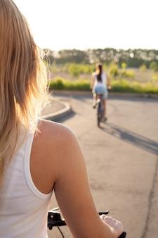 Two girls riding