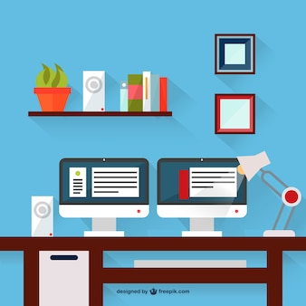 Two monitors desk vector illustration