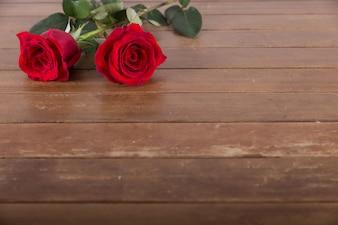 Две красные розы на столе