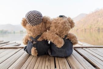 Two teddy bears on raft floating