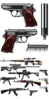 Types of guns vector